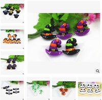 Wholesale Wholesale Resin Pumpkins - DIY Halloween Pumpkin Flat Back Resin Accessories For Hair Bows Cat Owl Bat Skull Fridge Magnets Resin Flatback Halloween Props m637