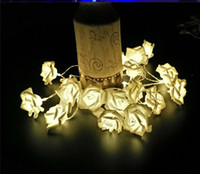 Wholesale Led Flower Battery Lights - 9 colors Fashion Holiday Lighting 20 LED Novelty Rose Flower Fairy String Lights Wedding Garden Party Valentie's Day Decoration