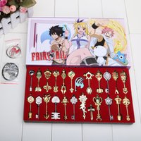 Wholesale fairy tail lucy keychain for sale - Group buy Cos Set cm Fairy Tail Lucy set Key Keychain Scale Free Pink Tattoo Heartfilia sign of the zodiac Gold Key