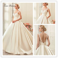 Wholesale Simple Slimming Wedding Dresses - C.V Fashion Sheer Neck Slim Waist Lace Appliques Satin Wedding Dresses Ball Gown Style V shape Backless Vintage Bridal Gown W0204