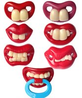 Wholesale Solid Silicone Girl - Fast ship Funny Silicone baby Pacifiers JOYFULBaby two Front Teeth Pacifier,6 designs mixed,funny Boy Girl photo tool,OPP package