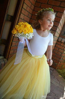 Wholesale Handmade Tulle Tutu - Tutu Lovely Yellow Long Flower Girl Tulle Skirts A Line Pleated Floor Length Handmade Children's Bottoms Part Skirt