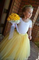 gelb gefaltete röcke großhandel-Tutu schöne gelbe lange Blumenmädchen Tüll Röcke eine Linie plissiert bodenlangen handgefertigten Kinder Bottoms Teil Rock