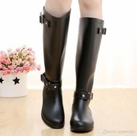 Wholesale Pvc Wellies - Top Brand Women Rainboots Knee-high tall fashion Designer rain boots waterproof welly boots Rubber rainboots water shoes rainshoes cheap