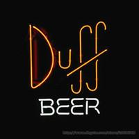 "Wholesale Duff Neon - Simpsons Duff Beer Store Bar Real Glass Tube Neon Sign Bar Disco KTV Club Motel Restaurant Advertisement Display Sign 17""X14"""