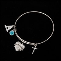 Myshape Cool Fashion Stainless Steel DIY encantos Pulseira Diâmetro 70mm Blue Crystal Heart Blessed Letter A Cross Pendant Bangle Wristbands