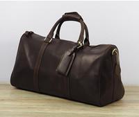 nuevos bolsos de piel moda mujer. al por mayor-2016 nuevos hombres de la moda de las mujeres bolsa de viaje bolsa de lona, bolsos de equipaje de cuero de gran capacidad bolsa de deporte 62 CM