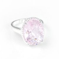 Wholesale Classic Fire - 3 Pieces 1 lot Holiday Gfit Classic Oval Fire Shine Pink Topaz Crystal Gemstone Russia 925 Sterling Silver Plated USA Weddiing Party Ring