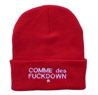 Barato Comme Des Fuckdown Skull-Ssur Comme Des Fuckdown Beanie Chapéus Cheap Knit Caps Para Mulheres Homens Warm Winter Skull Beanies Cap Bordado Letters Knitted Hat