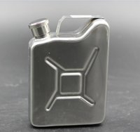 Wholesale Gasoline Cans - 5oz Oil Jerry Can Hip Flask Wine Pot Stainless Steel Fuel Petrol Gasoline Can hip flask