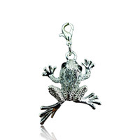 Wholesale Frog Floats - Wholesale High Quality Floating Charms Fashion Rhinestone Frog Lobster Clasp Animals Charms DIY Pendants Jewelry Accessories