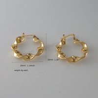 Wholesale 4g Earrings - Wholesale- MIN ORDER 10$ CAN MIX DESIGN NEW 4G - YELLOW GOLD GP OVERLAY PLAIN TWISTED BAND HOOP TALL 32MM 1.26inch EARRING