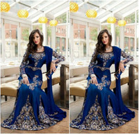 Wholesale embroidery long sleeve lace shirt - Vintage Royal Blue Crystal Muslim Arabic Evening Gowns 2018 With Applique Lace Abaya Dubai Kaftan Long Plus Size Evening Wear BA0718
