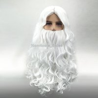 Высокое качество Deluxe White Santa Fancy Dress Wizard Wizard and Beard Set Christmas Halloween New Year