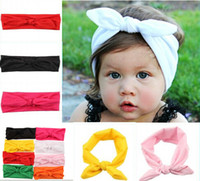 Wholesale Wholesale Solid Cotton Scarves - 10%off hot sale 8pcs Lovely Bunny Ear Headband Scarf Hair Head Band Cotton Bow elastic Knot Headband rabbit baby hair accessories free shipp