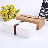 Wholesale Festive Food Gifts - 50pcs lot 20cmx11cmx6cm cookie packaging kraft paper box gift box packaging for bakery food envelope type