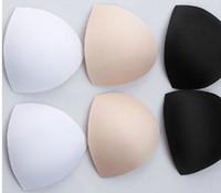 göğüsler mayo toptan satış-Siyah Beyaz Cilt Sünger Sutyen Lingerie Mayo göğüs pedi Sutyen Eklemek Yastık Meme ped 100 Pairs