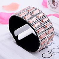 Wholesale European Bracelet Supplies - European and American Creative micro Rhinestone Bracelet with diamond ultra wide magnetic buckle Couples jewelry commodity supply stall sell