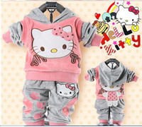Wholesale Girls Velvet Tracksuits - RETAIL2015 baby 2piece suit set tracksuits Girl's Hello Kitty clothing sets velvet Sport suits hoody jackets +pants freeshipping