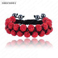 Wholesale Double Row Shamballa - Wholesale-827 Sale Double Row Beads Shamballa Bracelets 10mm Disco Ball(23Pcs) Crystal Shamballa Bracelet Mix Colors Options SHGCmix1
