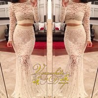 Wholesale Girls Dress Long Sleeves - New Mermaid Two-Pieces Prom Dresses Bateau Neck Ivory Lace Long Sleeves with Beads Zipper Back Sweep Train 2016 Girls' Evening Party Gowns