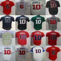 Wholesale Atlanta Baseball Jersey - 2017 Wholesale Mens Ladys Kids Toddler Atlanta 6 Bobby Cox 10 Chipper Jones White Red Grey Blue Cheap Cool Flex Base Baseball Jerseys
