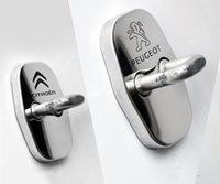 Wholesale Sticker Citroen - 4pcs Set Stainless Steel Peugeot Citroen Door Lock Covers Car Lock Protector Accessories for 2008 301 308 3008 408 508 C4L DS3 #1553