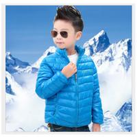 chaqueta verde amarillo chicas al por mayor-2016 Solid Blue Boy Abrigos Trajes Verde Niños Down Coat Rojo Invierno Outwear Amarillo Niños Parkas Tops Girls Jacket