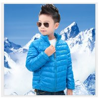 ingrosso giacca invernale gialla per bambini-2016 Solid Blue Boy Cappotti Outfit Green Bambini Down Coat Red Winter Outwear Giallo Kids Parka Top Girls Jacket