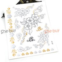 Wholesale-Band Metall Tattoos Metallic Gold Silber Schwarz Temporary