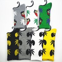 Wholesale Wholesale Champagne - MOQ 10pairs Socks WU Tang & CHEECH CHONG leaf cotton socks men women Street Socks Fedex free shipping