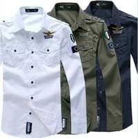 Wholesale New Men s Spring Aeronautica Militare Air Force One Shirt Bomber Long Sleeve Shirts Men s Causal Embroidery Cotton Shirt