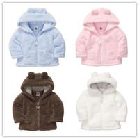 Wholesale Sherpa Baby - Wholesale-XJ-2, baby sherpa jacket, soft coral fleece, long sleeve hooded outwear, 5 colors.