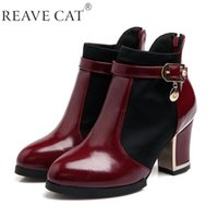 Wholesale Red White Boots - New 2015 Autumn boots Winter Women shoes Patent leather Ankle boot Pointed toe Patchwork Buckle Fashion Cool Hot White Black Red