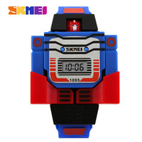 Wholesale Digital Toy Watches - SKMEI Kids LED Fashion Digital Children Watch Cartoon Sports Watches Robot Transformation Toys Boys Wristwatches Relogio Relojes