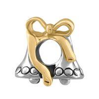 encantos de la campana de navidad al por mayor-Moda joyería de las mujeres europeo de oro jingle campana de metal espaciador del grano encantos de la suerte se adapta a Pandora charm bracelet