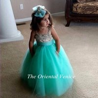 Wholesale Mint Green Girls Pageant Dress - Mint Green Tulle Ball Gown Flower Girl Dresses Spaghetti Straps Beaded Vestidos Infantil De Festa First Communion Gowns Girls Pageant Dress