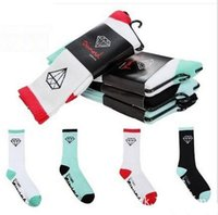 Wholesale Diamond Huf - 2016 new cotton Diamond Thick calcetin men half Outdoor Sport basketball Skateboard summer style Maple Leaf socks Men's Socks