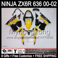 Wholesale yellow zx6r fairing - 8Gifts For KAWASAKI NINJA ZX6R 2000 2001 2002 yellow black Y7149 ZX636 ZX-636 ZX-6R ZX 6R 636 00 01 02 hot yellow Free Customized Fairing