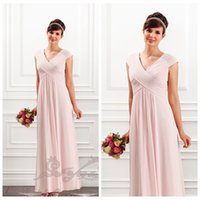 Wholesale Long Dress Bridesmaid China - Pink V-Neck Pleated Ruched A-Line Bridesmaid Dresses Custom From China Ankle-Length Formal Long Special Occasion Party Gowns 2016 Spring