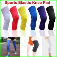 Wholesale Leg Support Sports - Sports Elastic Leg Knee Pad Support Brace Basketball Protector Gear breathable Honeycomb Kneepad 6 colors Cycling Long Knee Protector Soft