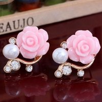 Wholesale Ladies Ornaments Wedding - 10pairs lot Lovely Rhinestone Earrings Rose Flower Pearl Ear Studs Earrings Ladies Party Wedding Ornaments je316