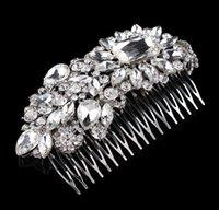 "Wholesale Large Rhinestone Comb - 4.9"" Large Luxurious Bridal Hair Comb Wedding Jewelry Headpiece Rhinestone Diamante Crystal Vintage Silver Tone"