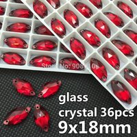 Wholesale Eyes Mm - 36pcs 9x18mm Navette Sew-on Stone Siam Dark Red Color 18x9 mm Marquise Horse eye Glass Sewing Crystal Rhinestone