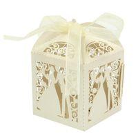 cajas de casados al por mayor-Nueva caja de dulces de papel para fiestas Caja de regalo de boda para casados dulces Cajas de regalo Suministros para fiestas en eventos 10 pcs
