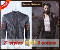 origins leather coat - Fall X Men Origins Wolverine Logan Cos Costume Cosplay Men Motor Coat Hugh Jackman Brown Leather Jacket Custom Made Styles Colors