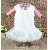 Wholesale Baby Girls Rosette Tutu Dress - 10%OFF 2015 NEW ARRIVAL! baby girl White Rosette Princess tutu dress,white cute dress children clothing,3pcs dress+3pcs hairband,6pcs lot