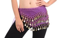 Wholesale India Clothing Costumes - 12 Colors 3 Rows 128 Coins Belly Egypt Dance Hip Skirt Scarf Wrap Belt Costume India dance waist belly dance costume Ethnic Clothing