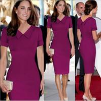 Wholesale Dropship Dresses - S-XXL New Celeb Women Work Casual Dress Princess Kate Middleton Vestidos Vintage OL Red Bodycon Party Pencil Dresses dropship