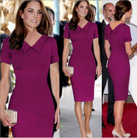 nuevo middleton al por mayor-S-XXL Nueva Celeb Women Work Casual Dress Princesa Kate Middleton Vestidos OL Vintage Bodycon Party Pencil vestidos dropship